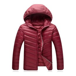 Wholesale Hooded Mens Light Jacket - Mens Winter Coat Solid Colors Hooded Outcoats Plus Size L-4XL Ultra Light Down Jackets Casual Outwear Loose Fashion Jacket Coats