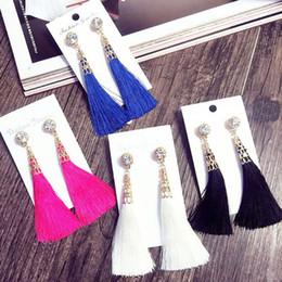 brincos longos design para mulheres Desconto 2018 Novas Mulheres Rhinestone Borlas Brincos De Metal Cone Oco Out Long Fringe Ear Drop 4 Cores Mulheres Design de Jóias