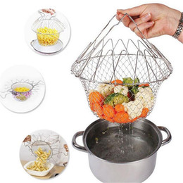 Wholesale stainless mesh strainers - Collapsible Colander Mesh Basket Steam Rinse Strainer Stainless Steel Filter Kitchen Sieve Fry French Cookware Tools AAA410