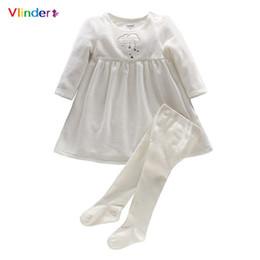 Vestido de impressão em nuvem on-line-2018 Vlinder 2 pcs Set Vestido + menina calça Moda Bebê Primavera Outono Impressão Bonito Nuvens Estrelas de Algodão Mangas Compridas Traje Recém-nascido