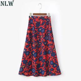 dd3eeadde2 NLW Women Boho Long Skirt Maxi Chiffon High Slit Skirts 2018 Summer Floral  Print Red Blue Skirt Beach Party Wear High Waist