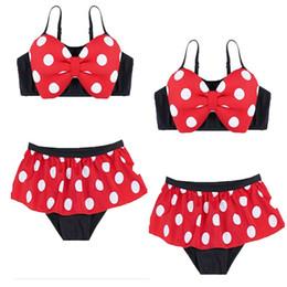 Jupe à pois en Ligne-Baby Girl cartoon Maillot de bain maillot de bain Ensemble de vêtements Bikini avec bonnet de bain Top à pois + jupe + chapeau 3PCS Maillot de bain pour enfants d'été