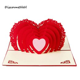 Wholesale Postcard Blank - Wholesale- 3D Pop Up Birthday Greeting Postcards Gift Cards Heart Blank Vintage Invitation Love Letters Messages