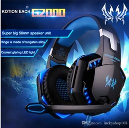 Wholesale studios microphone - Gaming Headphones Stereo Noise Cancelling Headsets Studio Headband Microphone Earphones With Light For Computer PC Gamer EACH G2000