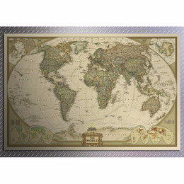 Wholesale wall stickers map world - World Map Art Crafts Maps Wallpaper Large Retro Kraft Paper Paint Vintage Wall Sticker Poster Living Room 72*47cm