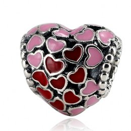Wholesale Enamelled Heart Charms - 2018 Valentine's Day Collection Authentic 925 Sterling Silver Bead Hollow Pink Red Enamel Heart Charm Fit Pandora Bracelets DIY Jewelry