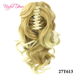 Wholesale Hairpieces For Black Women - Valentines beauty Ponytail claw clip hair extension Short Ponytails Curly Synthetic Hair Pony Tail Hairpiece Claw Ponytail for black women