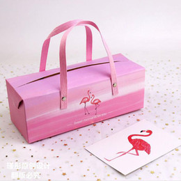 Wholesale Bakery Wedding Cakes - Pink Flamingo Paper Box With Handle Cake Box Bakery Packaging Box Birthday Wedding Party Decor ZA6732