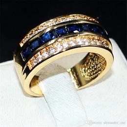 Safira azul ouro amarelo on-line-Luxo Princesa-corte Azul Sapphire Gemstone Anéis de Moda 10KT Amarelo Ouro Banda de Casamento cheia de Jóias para Homens Tamanho Das Mulheres 8,9,10,11,12