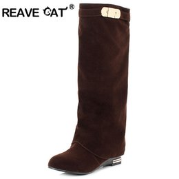 Wholesale Sexy Feet Set - REAVE CAT Western Fashion British Style Straight Sets Foot Shoes Solid Fashion Sexy High Boots Black Red Plus size Women boots