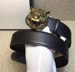 Wholesale Tiger Belt Buckles - New fashion famous brand men women real leather belts gold silver tiger buckle genuine leather designer belts size105-125cm