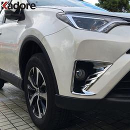Wholesale Rav4 Front - Fit For Toyota RAV4 RAV 4 2016 2017 ABS Chrome Head Front Fog light Lamp Cover Trim Foglight Lamp Shade Frame Foglight Bezel Car