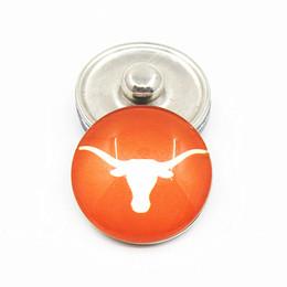 Argentina 20 unids NCAA Texas Longhorns 18mm Glass Snap Button Joyería Cabujones Snap Encantos Fit Snap Button Pulsera Joyería Suministro