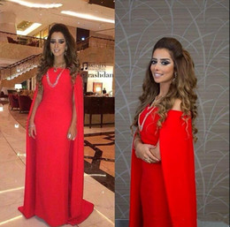 Wholesale Shoulder Shawl Party - Red Off Shoulder Evening Dress Full Length Special Satin Shawl Formal Party Dress Sheath Women Gown 2018 New Arrive
