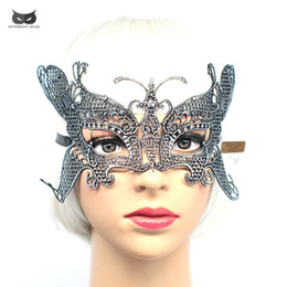 Wholesale girls butterfly mask - Mysterious Angel lace Halloween Christmas Masks cute girl Party Sexy Lace Ball Mask butterfly Mask Masquerade silver gold