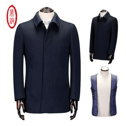 Wholesale Chinese Wool Jacket - Chinese Top Quality Men's Winter white duck down Downcoat Wool Trench Thick Warm Woolen Cashmere long down jacket winter parka