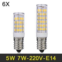 2019 lâmpadas de refrigerador E14 Lâmpada LED 5 W 7 W Mini DIODO EMISSOR de Luz SMD2835 Lâmpada 220 V 240 V Lampada Milho Luz Para Frigorífico Geladeira Lustre 6 pçs / lote lâmpadas de refrigerador barato