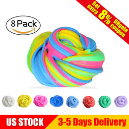 Wholesale retail gift packaging - Fluffy Slime Toy Super Soft and Non-sticky 8 Colors Independent Vacuum Packaging Stress Relief Toy Great Gift for Kids US STOCK