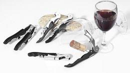 Wholesale wine bottle black - Multi-function Wine Corkscrew Stainless Steel Bottle Opener Knife Pull Tap Double Hinged Corkscrew Creative Promotional Gifts