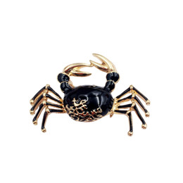 gold crab Coupons - Cute Crabs Brooch Enamel Animal Corsage Pins Kids Women Shirt Coat Clips Gold-color Brooches Clothes Accessories Jewelry