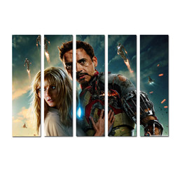Deutschland Moderne 5 stücke Kunst QUALITÄT LEINWAND DRUCK The Avengers Iron Man Wohnkultur Anime Poster Malerei Wandkunst Wohnzimmer Dekoration DhB04 Versorgung