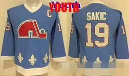 Wholesale Baby Blue Spandex - Youth Throwback Quebec Nordiques 19 Joe Sakic Hockey Jerseys Kids Boys Baby Blue Stitched Jersey Best Quality