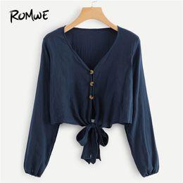 Glatte blusen online-ROMWE Navy V-Ausschnitt Single Breasted Knot Saum Damen Tops und Blusen Herbst Casual Langarm Plain Clothing weiblich Crop Shirt