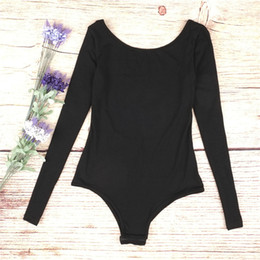 Wholesale Halter Corsets Tops - Women sexy U-halter long-sleeved jumpsuit new long sleeves Siamese clothes fashion yoga outfits black Corset top quality