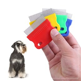 Wholesale Fine Clean - Fine Toothed Pet Flea Comb Steel Brush Cat Dog Grooming Combs for Dog Cat Kitten Hair Trimmer Brushes DDA388
