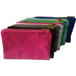 Teléfonos móviles color oro online-1 unid 12oz bolsa de lona de algodón Bolsas de cosméticos mujeres en blanco liso de oro con cremallera bolsas de maquillaje Bolso de mano del teléfono móvil con forro de color a juego 7x10in