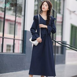 Wholesale Horn Products - INMAN 2018 New Products Women SpringV-Neck Horn Dress