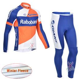Wholesale Fast Bib - RABOBANK SIDI Cycling Winter Thermal Fleece jersey (bib) pants sets Bicycle clothing men's long-sleeved windproof fleece Fast drying c1909