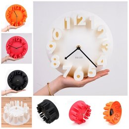 Wholesale unique live - 3D Number Colorful Modern Fashion Wall Hang Clocks Circular Design Sound Off Watches For Living Room Bar Wall Unique Clock Decoration 22hl Z