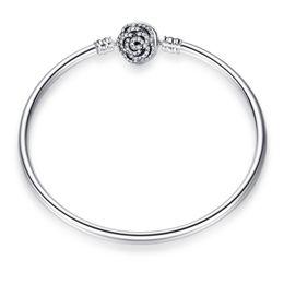 2019 pietra blu della porcellana Beauty The Beast Bangle 100% 925 gioielli in argento sterling rosa chiusura trasparente braccialetti di fascino di cristallo per le donne adatta charms europei perline
