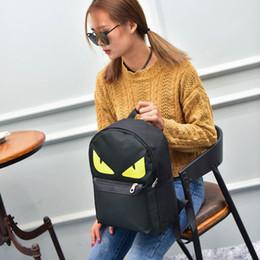Piccolo zaino nero online-Moda Donna Cartone animato Little Monster Girls Zaino Stampa Nylon Colore nero Casual Certificato di scuola Borsa a tracolla singola 17xc ff