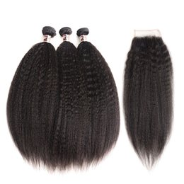 Wholesale kinky permed lace closure - Kinky Straight Human Hair Weave Unprocessed Brazilian Peruvian Malaysian Remy Human Hair 3 Bundles with Lace Closure Cheap Hair Extension