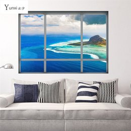 Wholesale Seaside Wall Decor - Creative 3D Window View Wall Stickers Home Decor Seaside City Building Landscape Wallpaper Living Room Mural Vinyl Wall Decal