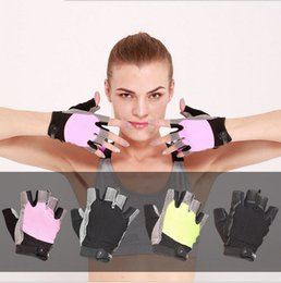 Wholesale finger gear - Sports Fitness Gloves Men and Women Half Finger Gloves Protective Wrist Breathable Non-slip Riding Gear Sports Products