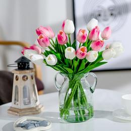 Tulpen sträuße online-Tulip Luyue 21 stücke Hochzeitsdekoration Pu Künstliche Bouquet Real Touch Blumen Tulip Gefälschte Simulation Blume Home Party Neujahr Decor