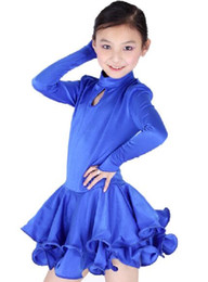 Wholesale latin dancing dresses children - Wholesale-Retail&Wholesale Fashion European Style Child Girl Long Sleeve Latin Dance Dress 6~15T Mixed Colors&Sizes