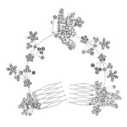2019 casamento do pente do cabelo da borboleta 2018 Hotsale Feis Noivas Romântico enfeite de cabelo longo cheio de diamantes flores, borboletas, liga de prata acessório do casamento pente de cabelo casamento do pente do cabelo da borboleta barato