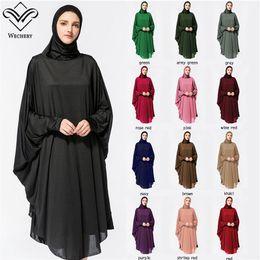 Abaya Hijab Kleid lange feste Roben für Frauen islamische türkische Kleid Kopftuch muslimische Anbetung Gebet Kleidungsstück Fledermaus Anzug mit Hijab Roben von Fabrikanten