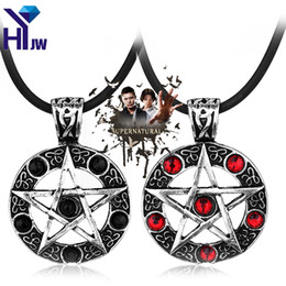 Wholesale Dean Winchester Necklace - whole saleSupernatural Series Pentagram Pendant Necklace With Rope Chain Dean Winchester Star Necklaces Silver Plated Jewelry