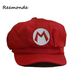 Wholesale Marie Red - REEMONDE Super Marie Baseball Cap Cotton Caps Mario's Octagonal Hat Women's Spring Hat Man Anime Hats 5 Colors Fitted Cap Unisex