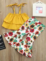 Ropa de boutique de verano para niñas 2 unids Ruffle Trim camisola con estampado de girasol volante pantalones trajes para niña grande niños niños desde fabricantes