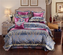 Wholesale king egyptian cotton sheets - Blue Golden Luxury Silk Jacquard Royal Bedding sets Queen King size Duvet cover Egyptian Coon Embroidered Flat Bed sheet set