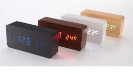 Argentina Actualización LED Despertadores Despertador Temperature Sounds Control LED Display Desktop Digital Relojes de tabla envío gratis por DHL Suministro