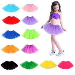 Wholesale girls pleated dance skirt - 14 Candy Colors Girls Dancewear Tutu Skirt Dance Dress Soft Pleated Ballet Dress 3 layers Children Clothes Skirt NNA398