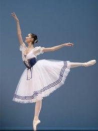 Tutus de ballet classique en Ligne-Classique Manches Bouffantes Long TUTU Ballet Costume Royal Bleu Ballet Justaucorps Pour Femmes Ballerine Vêtements Filles Ballerine Robe Enfants