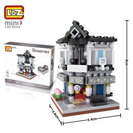Wholesale mini architecture - 20Sets Architecture Kid Model Banking House CinemaToy Theater Pet Shop Restaurant Mini Building Blocks Children Educational Toy